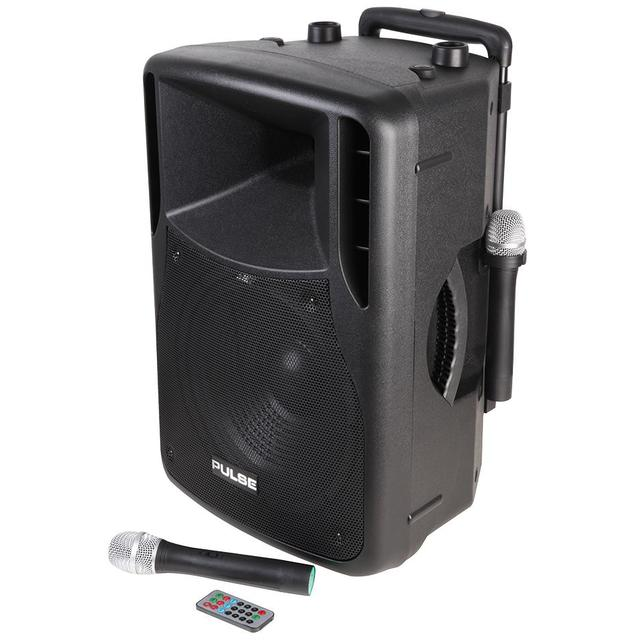 Portable PA System with 2x VHF Wireless Mics, USB/SD/FM/Bluetooth Media Player and 12 inch Loudspeaker