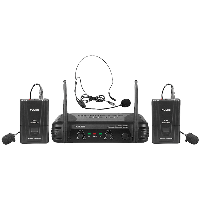 vhf dual lavalier headset wireless microphone system 173 8 175 0mhz pulse. Black Bedroom Furniture Sets. Home Design Ideas