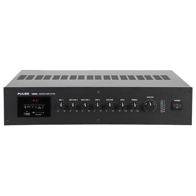 60W 100V Line Mixer Amplifier With USB/SD Media Player
