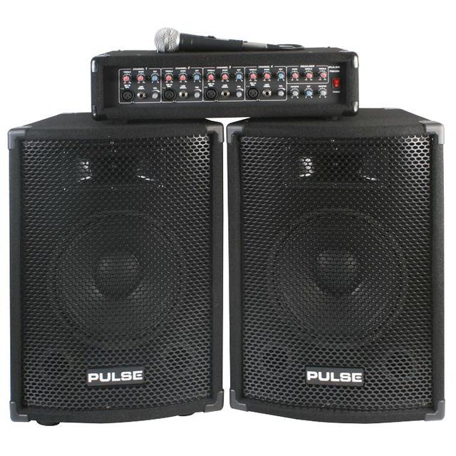 PA System with 4 Channel 2x 100W Mixer Amp, Mic and 2x 10 inch Speakers